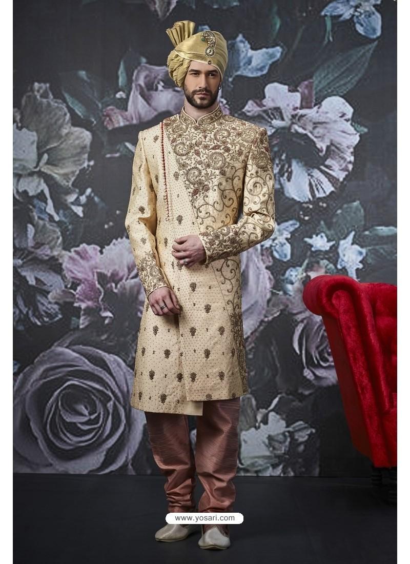Golden Art Banarasi Silk Designer Embroidered Sherwani