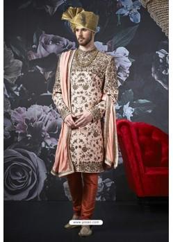 Elegant Baby Pink Art Banarasi Silk Designer Embroidered Sherwani