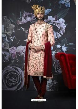 Baby Pink Art Banarasi Silk Designer Embroidered Sherwani