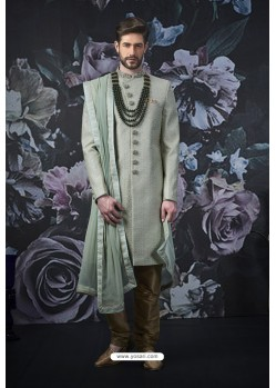 Grayish Green Art Banarasi Silk Designer Embroidered Sherwani
