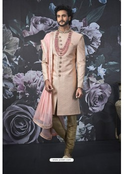Pink Art Banarasi Silk Designer Embroidered Sherwani