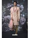 Pink Art Banarasi Silk Designer Embroidered Sherwani
