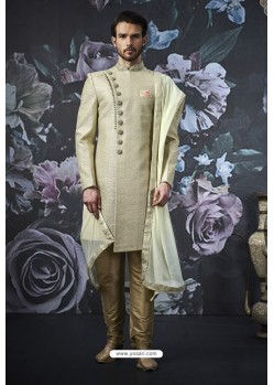 Olive Green Art Banarasi Silk Designer Embroidered Sherwani