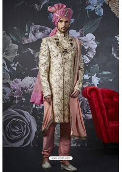 Light Beige Art Banarasi Silk Designer Embroidered Sherwani