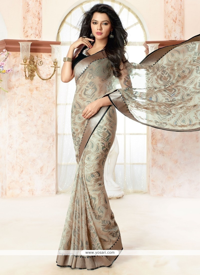 Surpassing Print Work Brasso Georgette Casual Saree
