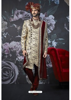 Stylish Light Beige Art Banarasi Silk Designer Embroidered Sherwani