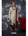 Stylish Light Beige Art Banarasi Silk Designer Embroidered Sherwani