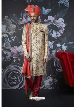 Amazing Light Beige Art Banarasi Silk Designer Embroidered Sherwani