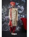 Amazing Light Beige Art Banarasi Silk Designer Embroidered Sherwani