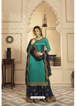 Teal Satin Georgette Embroidered Lehenga Style Suit