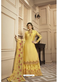 Yellow Satin Georgette Embroidered Lehenga Style Suit