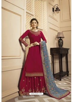 Rose Red Satin Georgette Embroidered Lehenga Style Suit