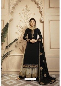 Black And Cream Satin Georgette Embroidered Lehenga Style Suit