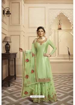 Green Satin Georgette Embroidered Lehenga Style Suit