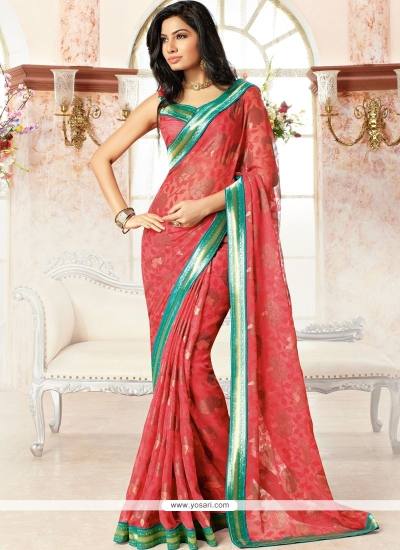Charismatic Brasso Georgette Red Print Work Casual Saree