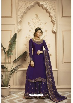 Violet Satin Georgette Embroidered Lehenga Style Suit