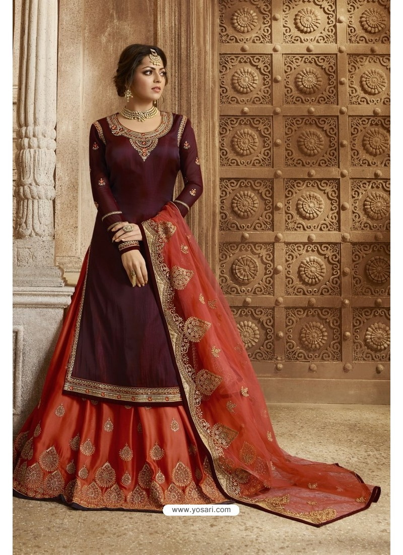 Maroon And Red Satin Georgette Designer Lehenga Style Suit