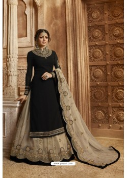 Black And Beige Satin Georgette Designer Lehenga Style Suit