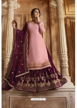Pink And Purple Satin Georgette Designer Lehenga Style Suit