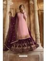 Pink And Purple Satin Georgette Designer Lehenga Style Suit