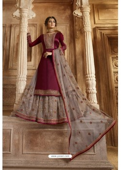 Maroon And Light Brown Satin Georgette Designer Lehenga Style Suit