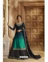 Navy Blue Satin Georgette Designer Lehenga Style Suit