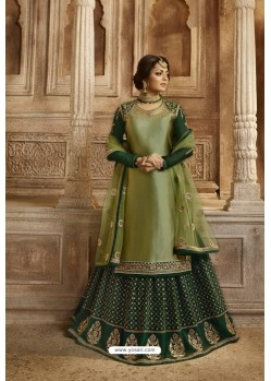 Dark Green Satin Georgette Designer Lehenga Style Suit