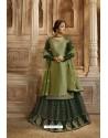 Dark Green Satin Georgette Designer Lehenga Style Suit