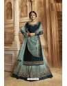 Sky And Navy Satin Georgette Designer Lehenga Style Suit