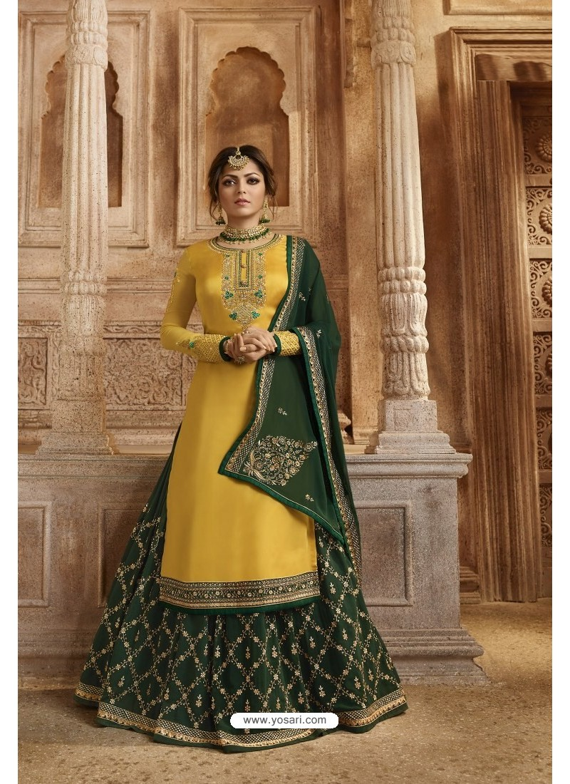 Yellow And Green Satin Georgette Designer Lehenga Style Suit