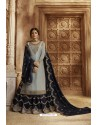 Aqua Grey And Navy Satin Georgette Designer Lehenga Style Suit