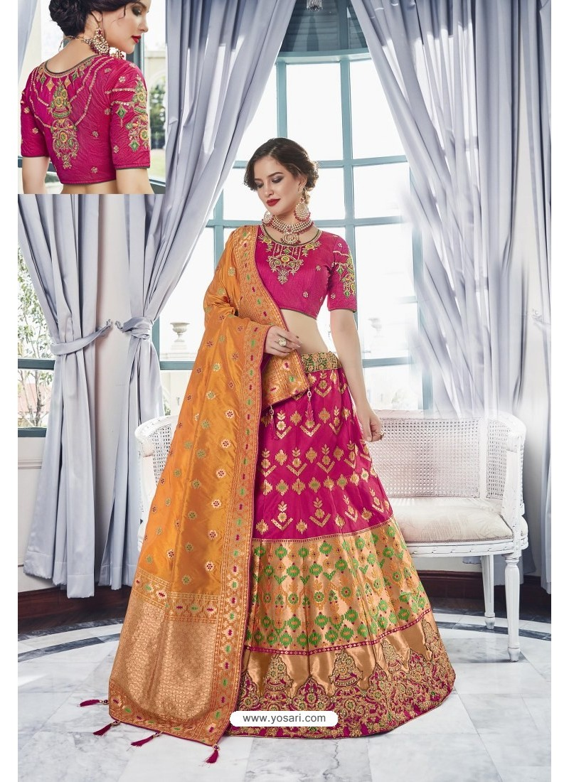 Rose Red Silk Jacquard Handworked Lehenga Choli
