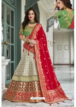 Glamourous Green Silk Jacquard Handworked Lehenga Choli