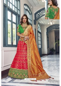 Rani And Green Silk Jacquard Handworked Lehenga Choli