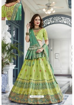 Green Silk Jacquard Handworked Lehenga Choli
