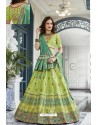 Green Silk Jacquard Handworked Lehenga Choli