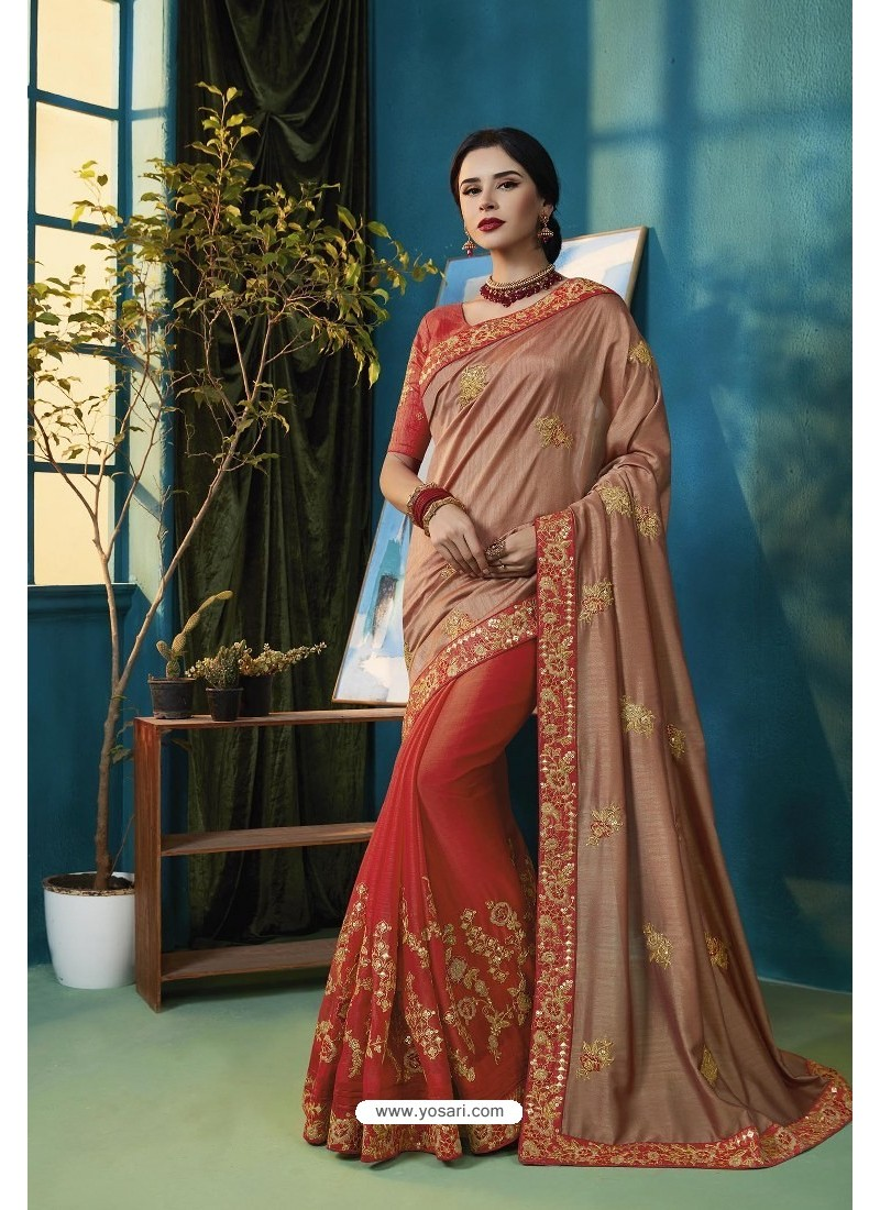 Light Brown And Red Two Tone Chiffon Thread Embroidered Saree
