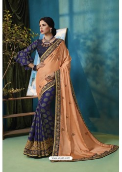 Light Orange And Blue Silk Georgette Thread Embroidered Saree