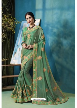 Jade Green Silk Georgette Thread Embroidered Designer Saree
