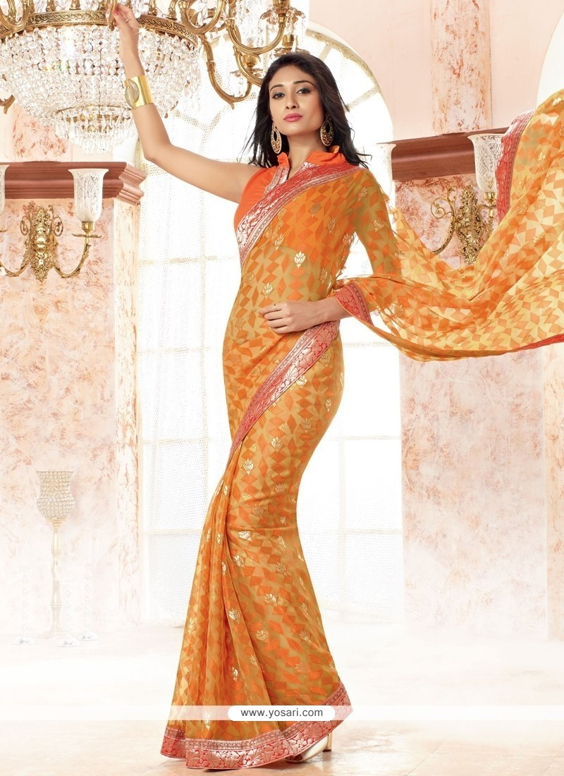 Beauteous Faux Chiffon Orange Casual Saree
