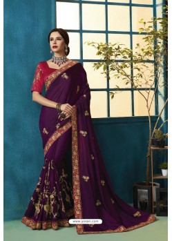 Purple Silk Georgette Thread Embroidered Designer Saree