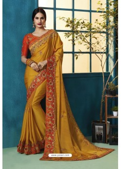 Orange Silk Georgette Thread Embroidered Designer Saree