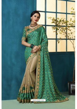Aqua Mint And Beige Jacquard Silk Thread Embroidered Designer Saree