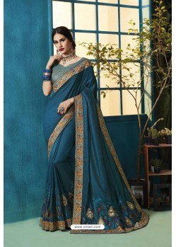 Teal Blue Silk Georgette Thread Embroidered Designer Saree