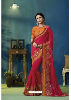 Rani Silk Georgette Thread Embroidered Designer Saree