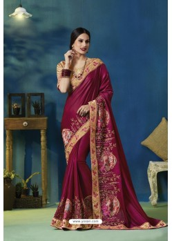 Deep Wine Silk Georgette Thread Embroidered Designer Saree