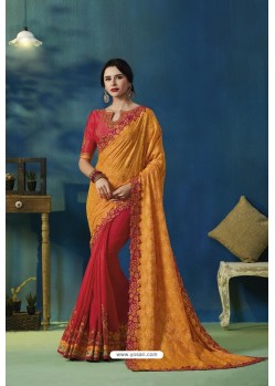 Orange And Red Jacquard Silk Thread Embroidered Designer Saree