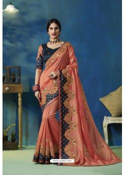 Peach Silk Vichitra Thread Embroidered Designer Saree