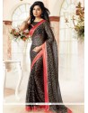 Glamorous Black Patch Border Work Brasso Georgette Casual Saree