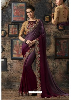 Wine Fancy Georgette Silk Party Wear Saree